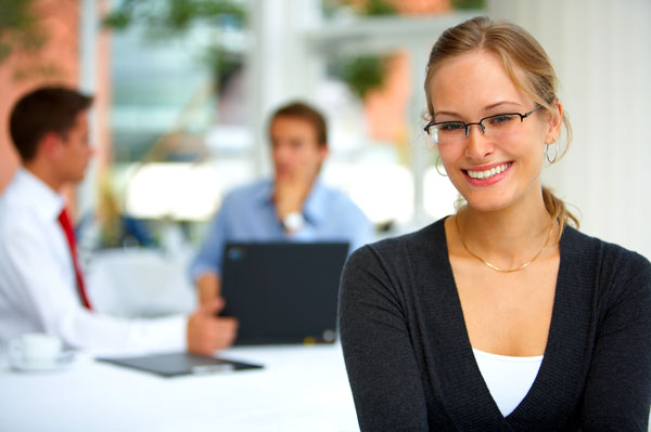 female employee smiling